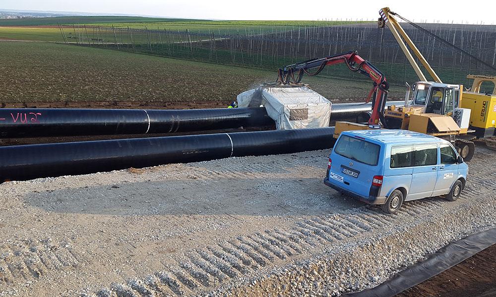 Pipeline auf Baustelle